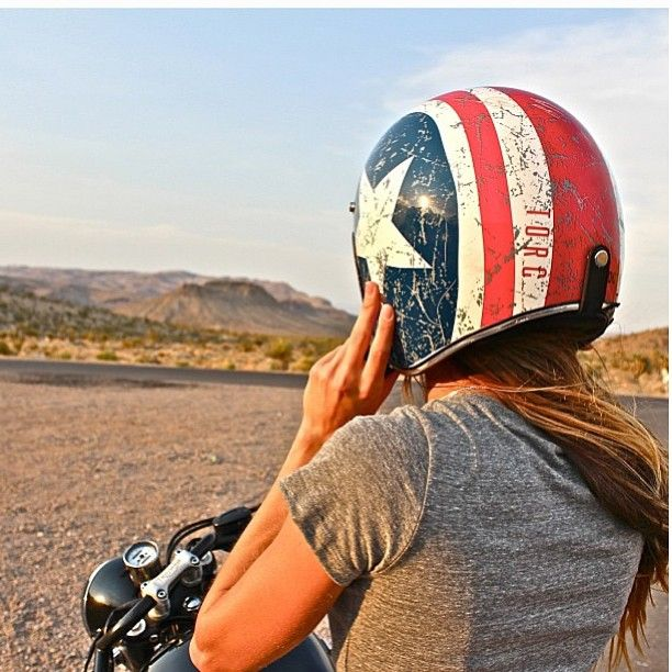 Captain America Motorcycle Helmet - Old School Open Face Helmets!