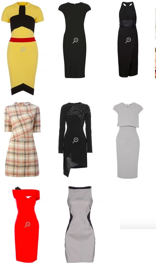 Платья ЯГ скульптурные, по фигуре или обтягивающие. Короткие платья с прямым подолом. Длинные платья со сложным подолом. Платья со слегка заниженной, асимметрично отделанной талией или талией с небольшим напуском. Платья из гладкой, плотной ткани, с держащей форму отделкой - на вечер. Асимметричные игривые детали, геометрические вырезы, контрастная отделка. ! Избегайте: мягких платьев с с оборками, классических симметричных платьев, широких и бесформенных платьев.