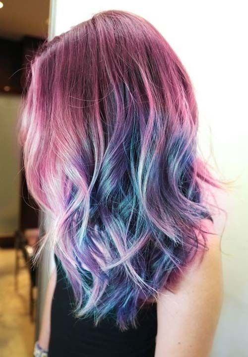 pretty multi-color hair plums and blues