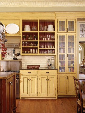 Kitchen Cabinet Re-do/Painted Patina: 15 Ways to Update Your Kitchen with Paint  With the primers and paints available now, it's easy to transform a dowdy, outdated kitchen from top to bottom. From the cabinets to the floor, find colorful ideas to revive your kitchen.