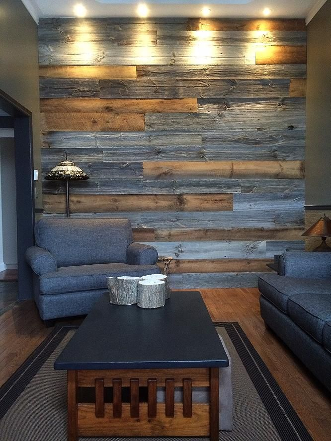 This client asked us to do a mixture of rustic brown with grey barn board in their living room area.  Looks nice that the colour picks up on the furniture and the lighting accents the texture of the wood. barnboardstore.com