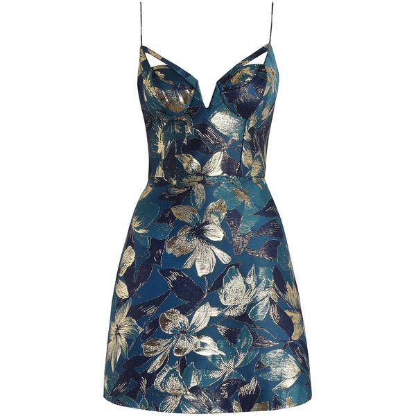 Zimmermann Esplanade Brocade Dress ($850) ❤ liked on Polyvore featuring dresses, vestidos, short dresses, blue floral dress, blue mini dress, metallic dress and metallic cocktail dress