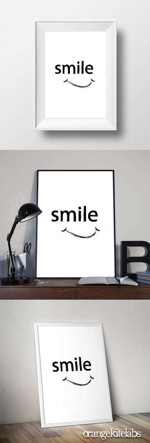 Printable poster smile, #Scandinavian art #Printable_poster_smile #Black_and_white_art #room_decor #wall_art #wall_decor #minimalist_wall_art #monochrome_printable