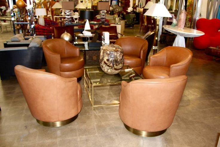 A. Rudin Leather Swivel Chairs with Brass Base