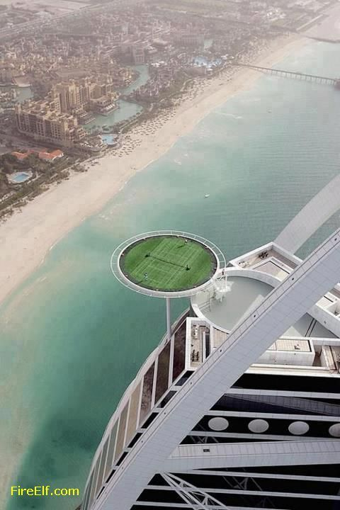 Del mondo più alto campo da tennis Località: Burj Al Arab, Dubai - luoghi interessanti da visitare - Fuoco Elf - migliore vacanza e Luna di miele Destinazioni