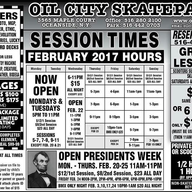 New schedule is here! #oilcityskatepark #proshop #scoot #skate #inline #oceanside #ny #ramps #tricks #skaelife #scooters #skateboard