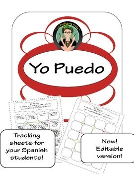 "Yo Puedo, ""I can"" tracking sheet for Spanish classes, EDITABLE homework options, Spanish lesson, classroom management, tarea, La Profesora Frida, The Stress Free Spanish Teacher"