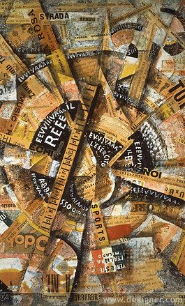 """Interventionist Demonstration (Manifestazione Interventista) (1914) by Carlo Carrà (Mattioli Collection, Milan) - Italian Futurism - Viewed as part of the exhibition """"Italian Futurism, 1909–1944: Reconstructing the Universe at the Guggenheim Museum, NYC, NY 3/1/14"""