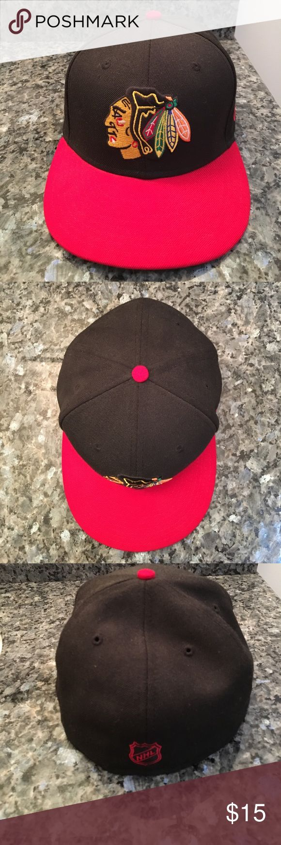 Official NHL Chicago Blackhawks New Era hat Official NHL Chicago Blackhawks hat. No sweat stains. Very little wear. Size 7-3/8 fitted hat New Era Accessories Hats