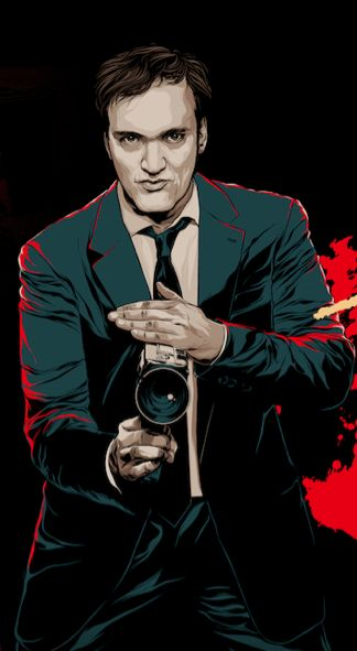 Quentin Tarantino. I like this because he's holding his camera like a weapon…
