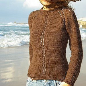 Sinfully Simple Lace Sweater - top-down, raglan sleeves, medium weight (US8/5mm), rows of lace on front and arms and free