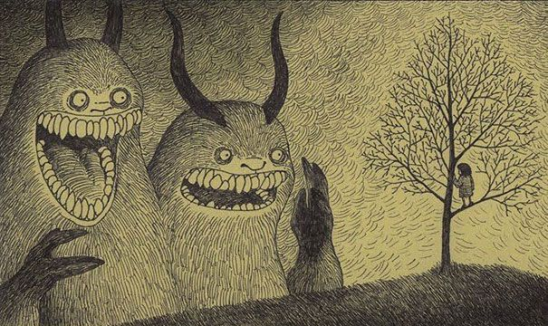 Danish artist John Kenn Mortensen taps into the terror of our childhood nightmares with brilliant and terrifying monster drawings that he does on sticky notes.