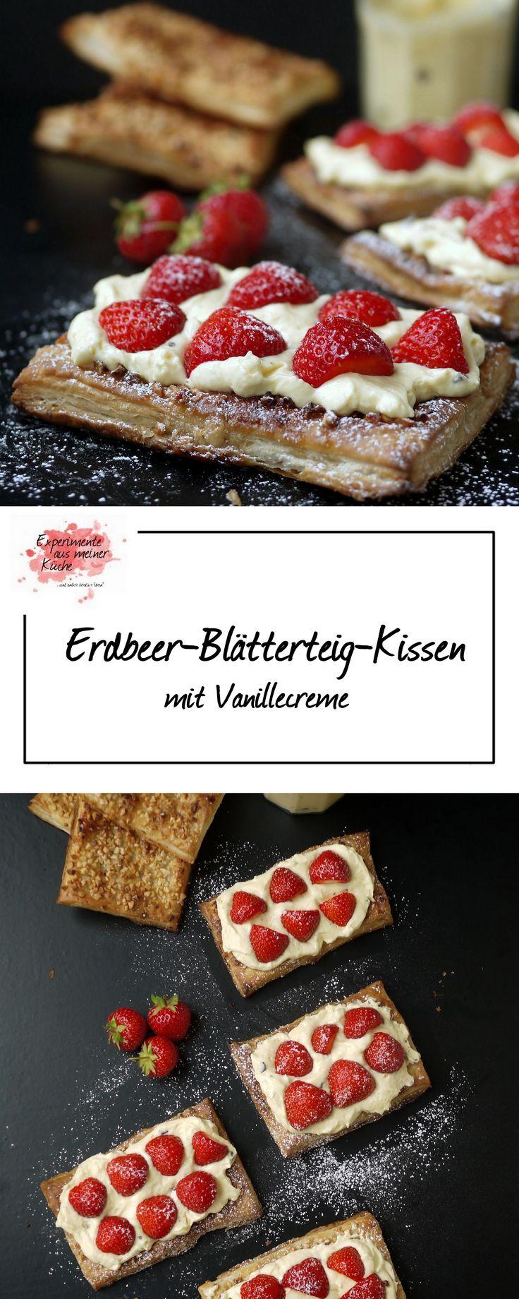 Erdbeer-Blätterteig-Kissen | Rezept | Backen | Dessert