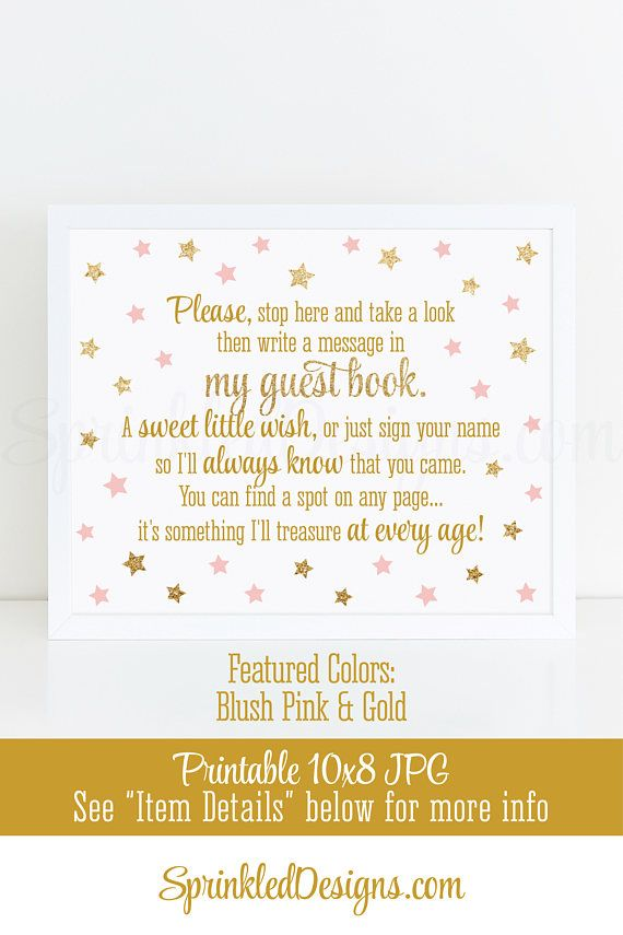 Twinkle Little Star Baby Shower Guest Book Sign, Girl 1st Birthday Guest Book Sign, 10x8 Printable Guest Book Sign, Blush Pink Gold Glitter - SprinkledDesigns.com