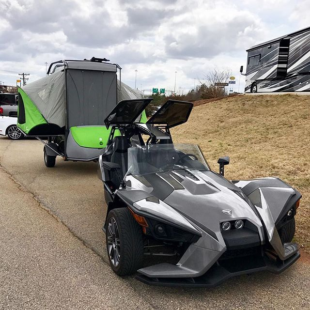 Be sure to catch Stephen with his @polarisslingshot pulling his GO at the @carsandcoffee of the Upstate event tomorrow from 8-11am at Michelin North America (1 Parkway S, Greenville, SC)! Stephen loves his GO and is more than happy to talk camping, Slingshots and how he made the two work together. #GOlife ・・・ . . . . . . #sc #michelin #carsandcoffee #polaris #slingshot #yeathatgreenville #teardrop #camper #geahauler #popupcamper #camping #foldingcamper #findyouraway #GORVing #optouts