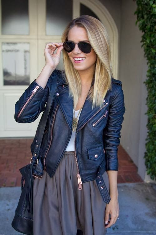 navy leather + brown skirt | Beauty + Fashion Trends | Pinterest