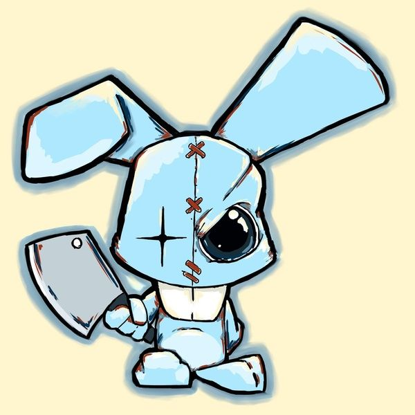 evil cartoon bunny - 600×600