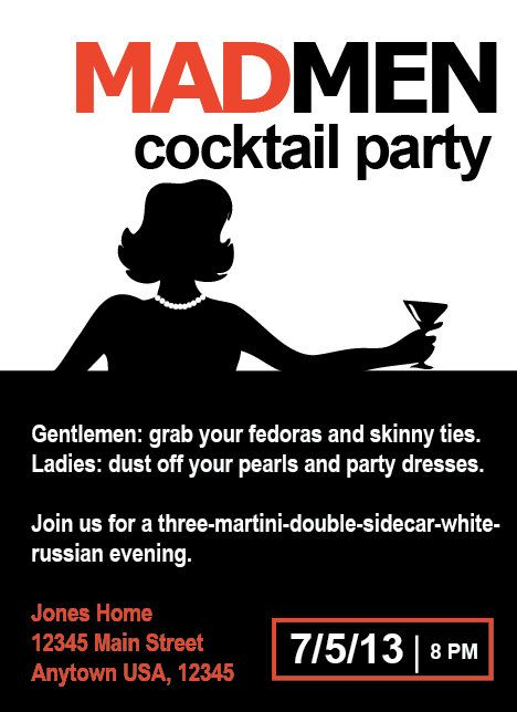 Mad Men 1960's Cocktail Party Invitation by NestedExpressions, $20.00