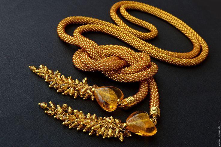 Купить Лариат из бисера Золотое сердце жгут из бисера - лариат, лариат из бисера