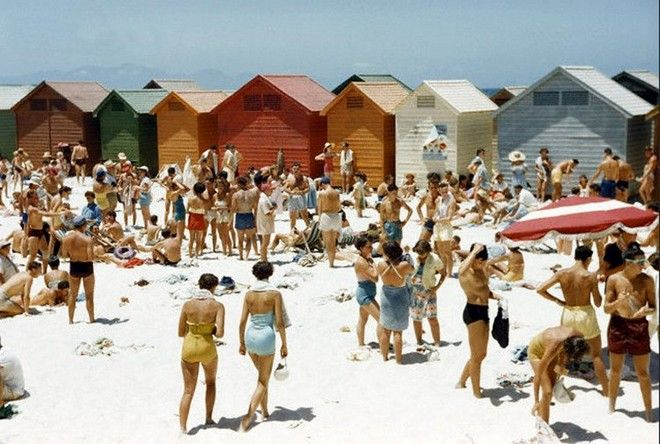 these coloured cabanas on muizenberg beach in cape town were a special part of my childhood. here they are in 1953!