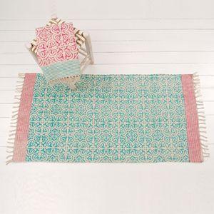 Tapis réversible en coton imprimé turquoise et rouge Windy Hill : Decoclico 50