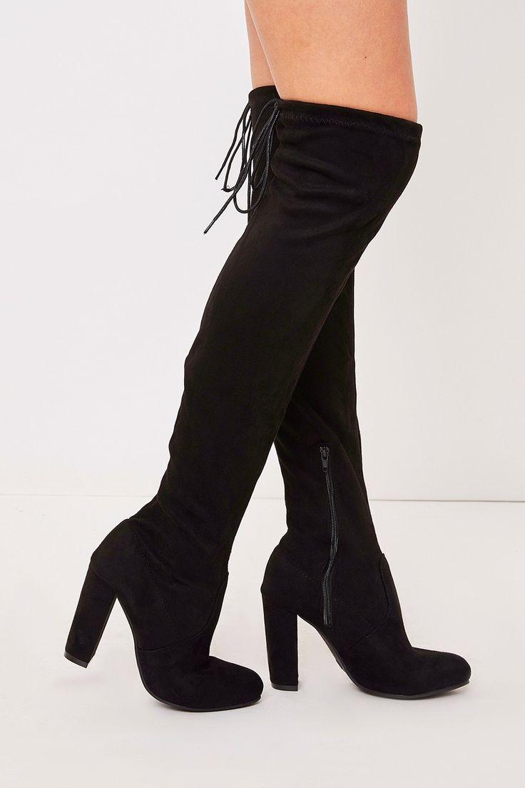 Sadie Black Suede Over The Knee Heeled Boots