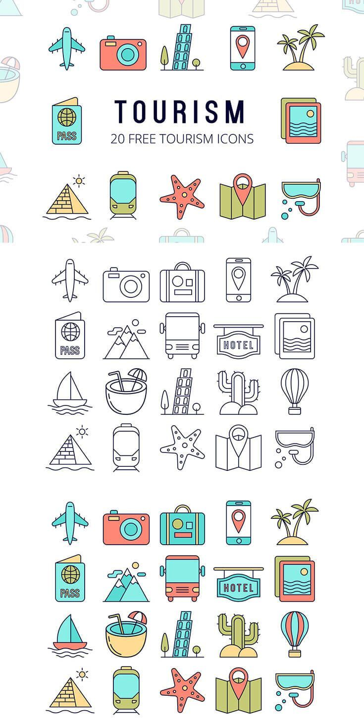 Free Tourism Vector Icon Set Icon set, Vector icons