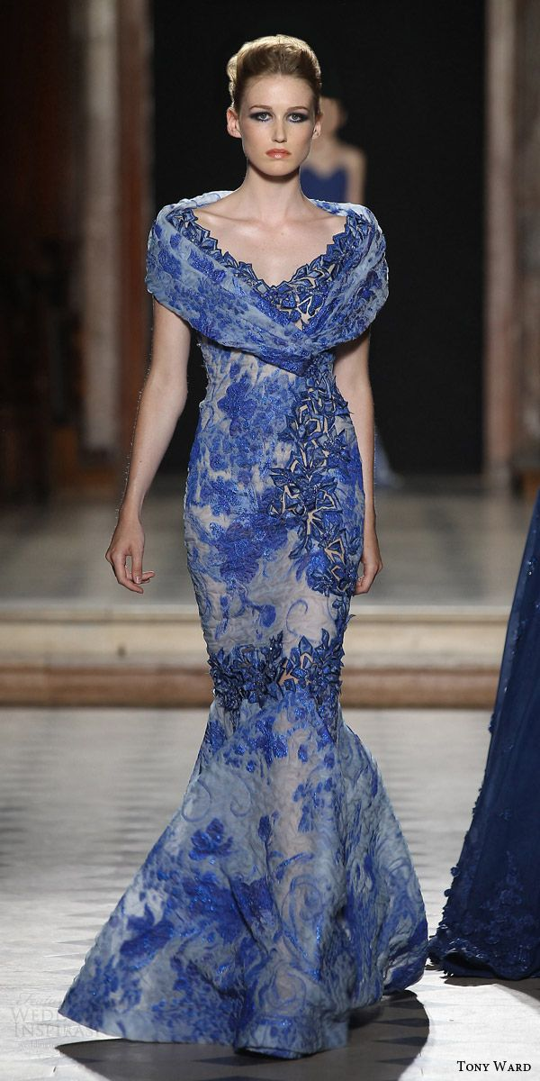 tony ward couture fall winter 2015 2016 look 4 off shoulder blue mermaid dress crystal print applique