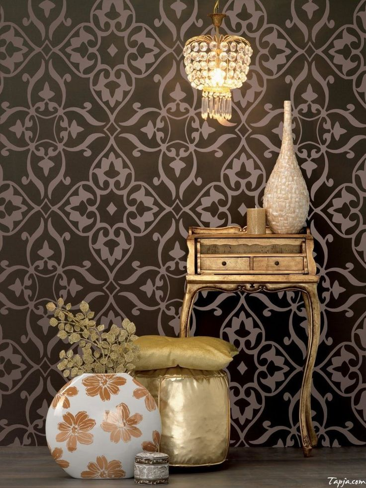 Home decoration, Classic Bedroom Interior Decorating With Black Wallpaper Including Vintage Gold Vanity Table And Chandelier Also Flower Vase On Wooden Floor: 5 steps of decorating interior with wallpaper