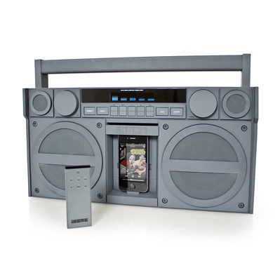 Packing all the functionality of a modern iPod dock into the classic styling of a boombox, the iP4 is a veritable love letter to the 1980's.