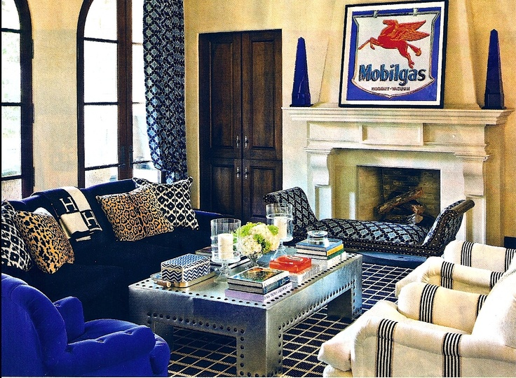 Kirsten Fitzgibbons And Kelli Ford Combined Several Shades Of Blue From Almost Black Navy To Royal In The Light Filled Living Room Hand Blocked Batik