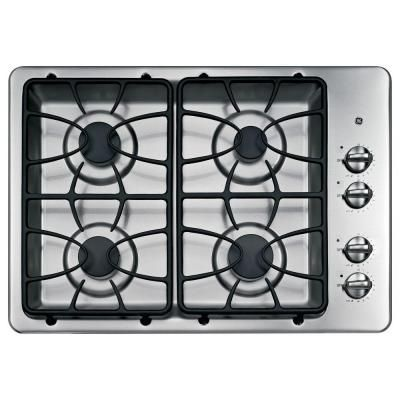 ge 30 in gas cooktop in stainless steel silver with 4 burners