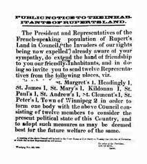 Public notice of 6 November 1869 inviting representatives from Red River's English-speaking parishes to participate in the Provisional Government. red river rebellion - Google Search