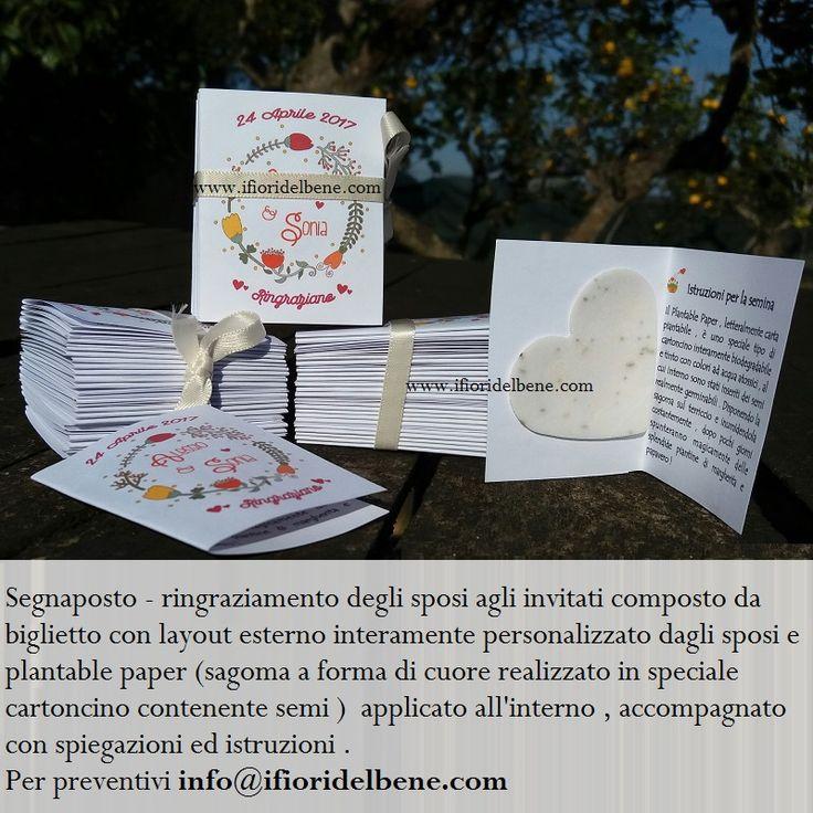 Per altre realizzazioni http://www.ifioridelbene.com/28-articoli-promozionali #segnaposto #ringraziamento #invitati #sposi #matrimonio #semi #plantablepaper #wedding #weddinfavor #cartapiantabile