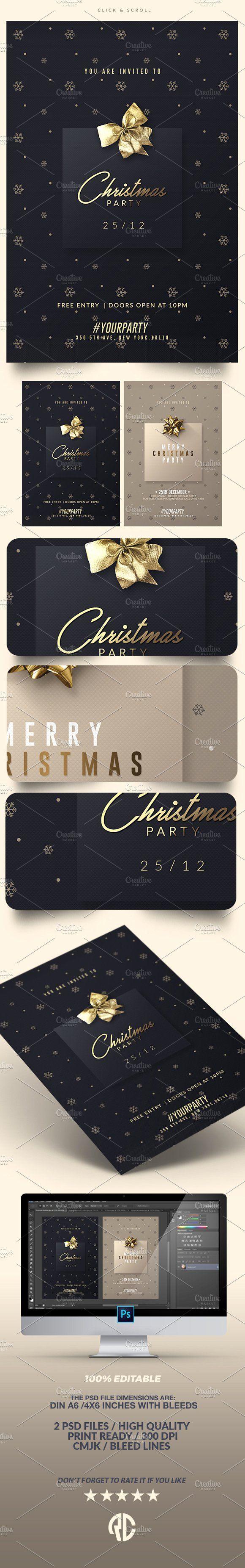 2 Classy Christmas | Psd Invitations - Invitations