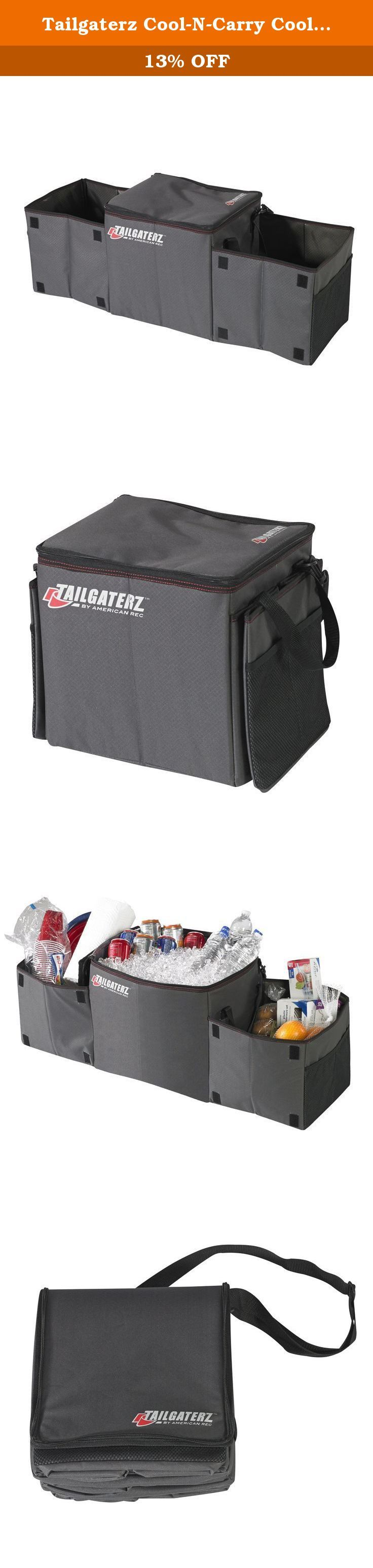 Tailgaterz Cool-N-Carry Cooler/Organizer, Game Day Graphite. More than just a cooler, the Cool-N-Carry keeps beverages cold and snacks organized, simplifying you mobile recreation lifestyle. The versatile side compartments fold or expand independently so they don't take up space when you don't need them and organize your stuff when you do. Mesh pockets on the side are convenient to get to when the side compartments are folded also. The insulated cooler compartment will keep your beverages...