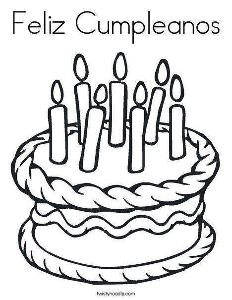 Feliz Cumpleanos (Happy Birthday in Spanish) coloring page
