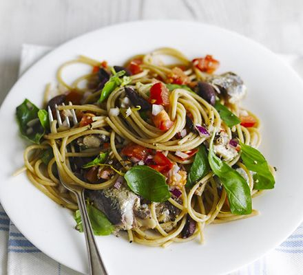 Salsa spaghetti with sardines. I'd go for fresh sardines. Our supermarket never does them.