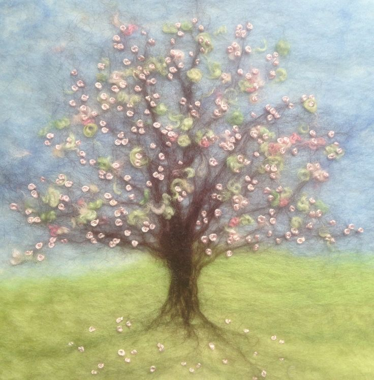 'Blossom Bliss'  A tree in the middle of the meadow covered in pale shell pink blossom, embellished with hand embroidery and hand dyed Bluefaced Leicester wool. Created by Mary Spence at Apple and Blossom