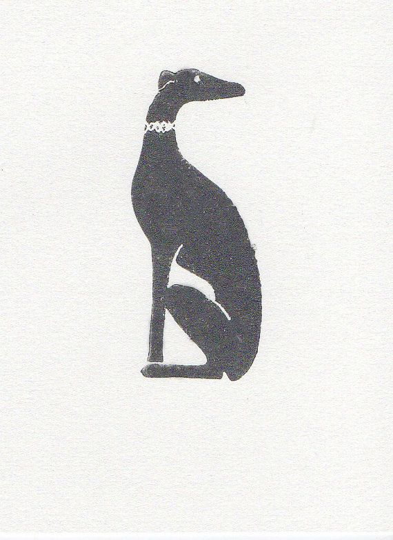 Gray Greyhound Linocut Dog Woodblock Printmaking by WeThinkSmall, $15.00