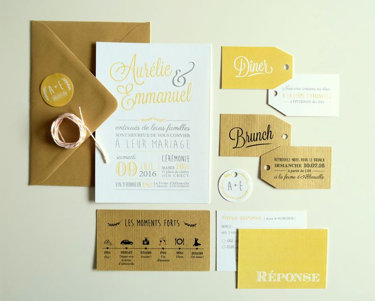 Faire-part mariage Jaune et Kraft #fairepart #fairepartmariage #mariage…