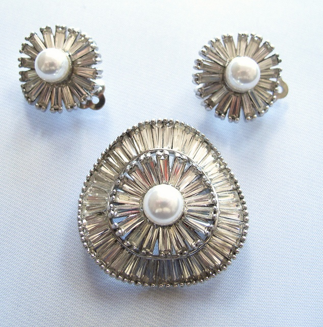 #3583 Jomaz Faux Pearl Pin & Earrings  $225  at Lee Caplan Vintage Collection on RubyLane