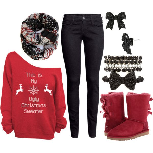 #Christmas #Outfit #Cute #Style #Red #Sweater #UGGs #Accessories #Clothing  #Stylish #Fashion | Christmas Year Round | Pinterest | Outfits, Winter  outfits ... - Christmas #Outfit #Cute #Style #Red #Sweater #UGGs #Accessories