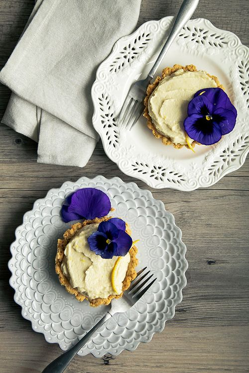Pansy Chantilly Tartletts with Lemon Cookie Crust