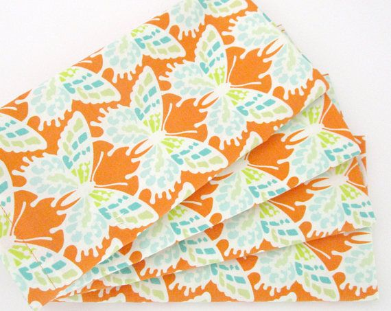Large Cloth Napkins  Set of 4  Orange Blue Green Butterflies