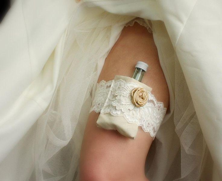 Secret Stash Garter: Shot Garter / Flask Garter - Ivory & Champagne - Lace Bridal Garter - Wedding Garter - Bachelorette, Bridesmaids Gift - http://www.usedweddingresales.com/secret-stash-garter-shot-garter-flask-garter-ivory-champagne-lace-bridal-garter-wedding-garter-bachelorette-bridesmaids-gift.html