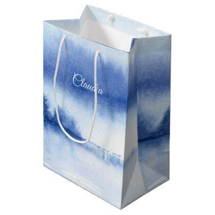 #Custom Name | Blue Winter Forest Paper Gift Bags - #bridesmaid gifts #bridal bride wedding marriage