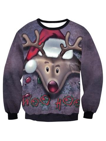 Christmas Casual Loose Elk Round Neck Long Sleeve Blouse For Women