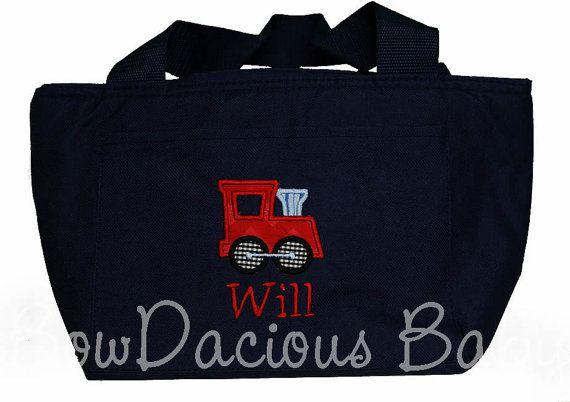 Train Lunch Bag Boys Lunch Box Boys Lunch Bag by bowdaciousbaby