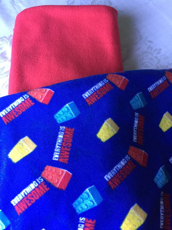Large and cozy Lego fleece tie blanket/throw by BriersBlankets